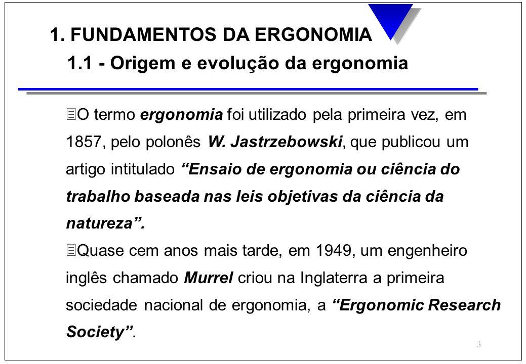 3 1. FUNDAMENTOS DA ERGONOMIA 1.1 - Origem e evolução da ergonomia 3O termo ergonomia foi utilizado pela primeira vez, em 1857, pelo polonês W. Jastrz