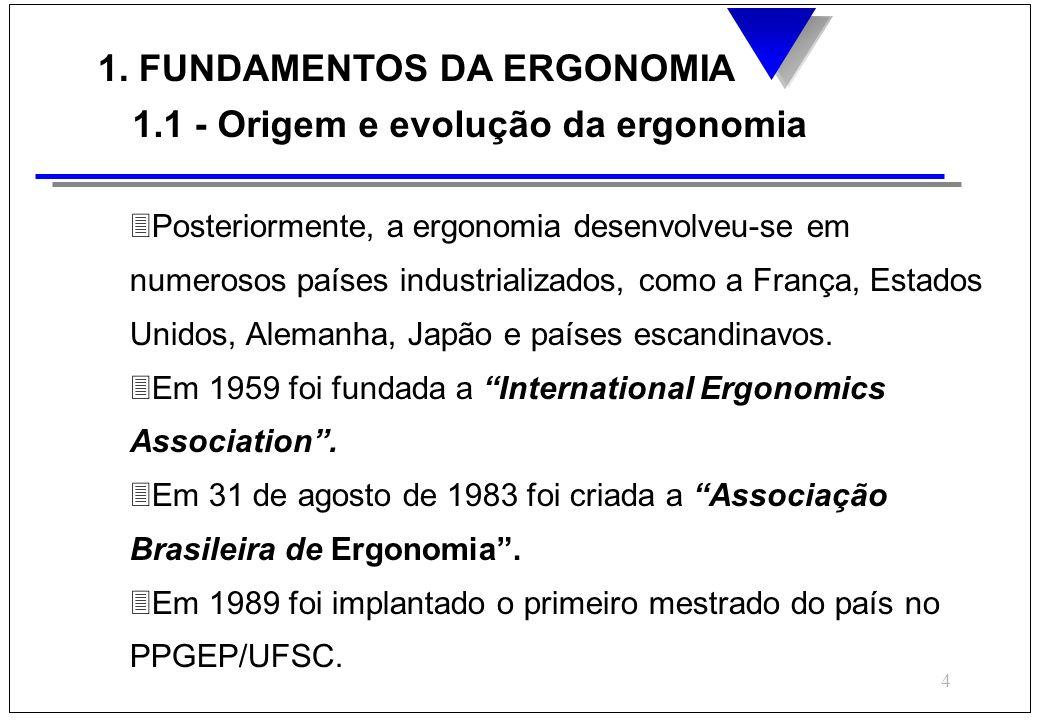 4 1. FUNDAMENTOS DA ERGONOMIA 1.1 - Origem e evolução da ergonomia 3Posteriormente, a ergonomia desenvolveu-se em numerosos países industrializados, c