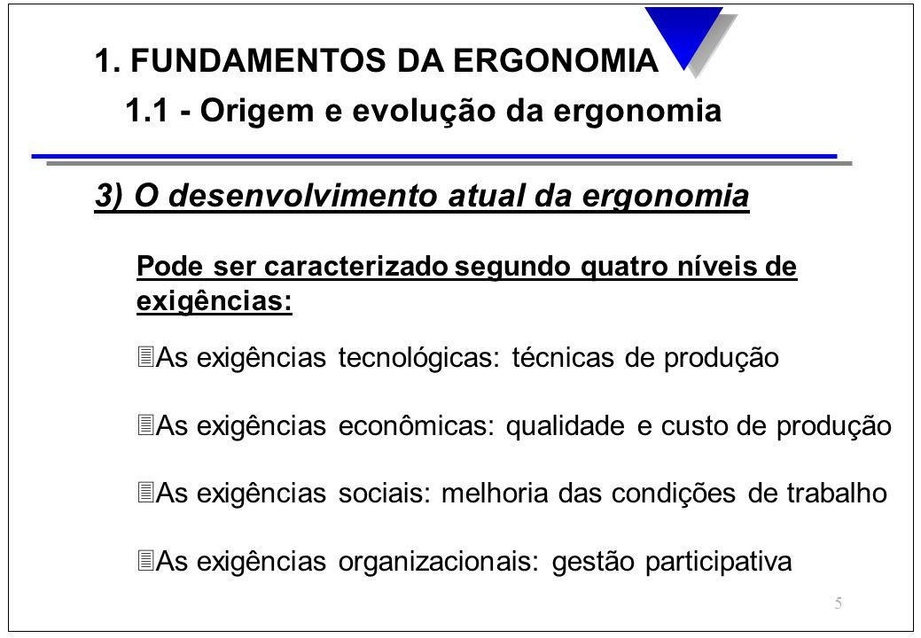 5 1. FUNDAMENTOS DA ERGONOMIA 1.1 - Origem e evolução da ergonomia 3) O desenvolvimento atual da ergonomia Pode ser caracterizado segundo quatro nívei