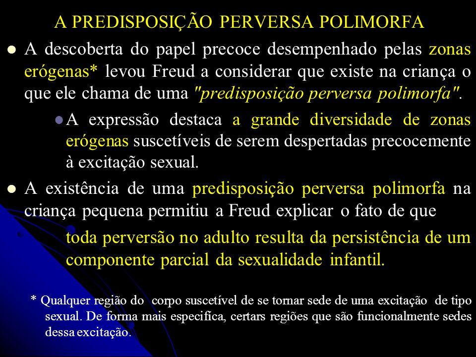 A PREDISPOSIÇÃO PERVERSA POLIMORFA A descoberta do papel precoce desempenhado pelas zonas erógenas* levou Freud a considerar que existe na criança o q