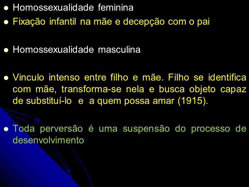 Homossexualidade feminina Homossexualidade feminina Fixação infantil na mãe e decepção com o pai Homossexualidade masculina Vinculo intenso entre filh