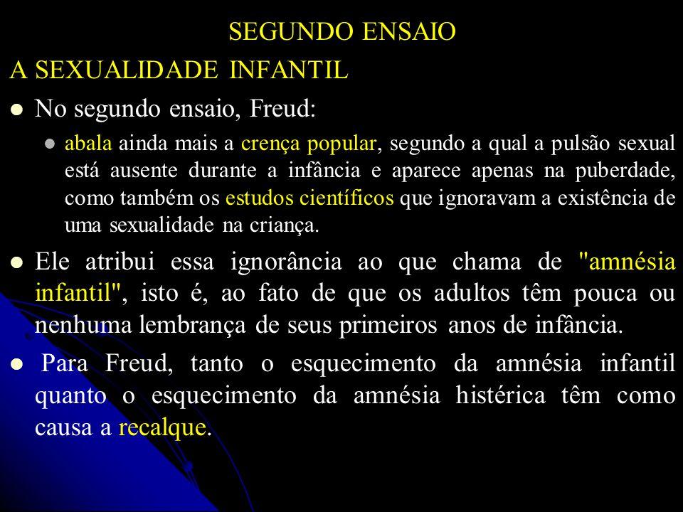 SEGUNDO ENSAIO A SEXUALIDADE INFANTIL No segundo ensaio, Freud: abala ainda mais a crença popular, segundo a qual a pulsão sexual está ausente durante