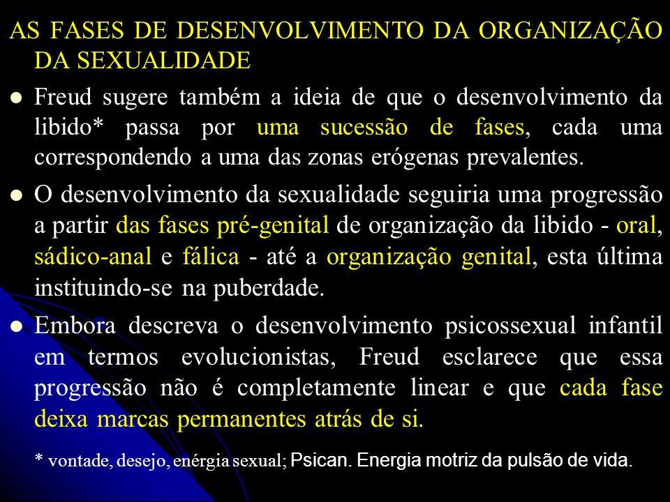 AS FASES DE DESENVOLVIMENTO DA ORGANIZAÇÃO DA SEXUALIDADE Freud sugere também a ideia de que o desenvolvimento da libido* passa por uma sucessão de fa