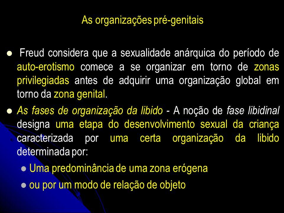 As organizações pré-genitais Freud considera que a sexualidade anárquica do período de auto-erotismo comece a se organizar em torno de zonas privilegi