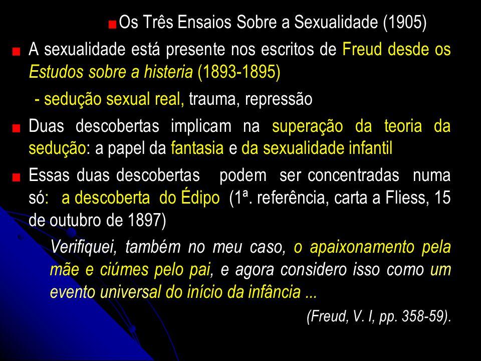 Os Três Ensaios Sobre a Sexualidade (1905) A sexualidade está presente nos escritos de Freud desde os Estudos sobre a histeria (1893-1895) - sedução s