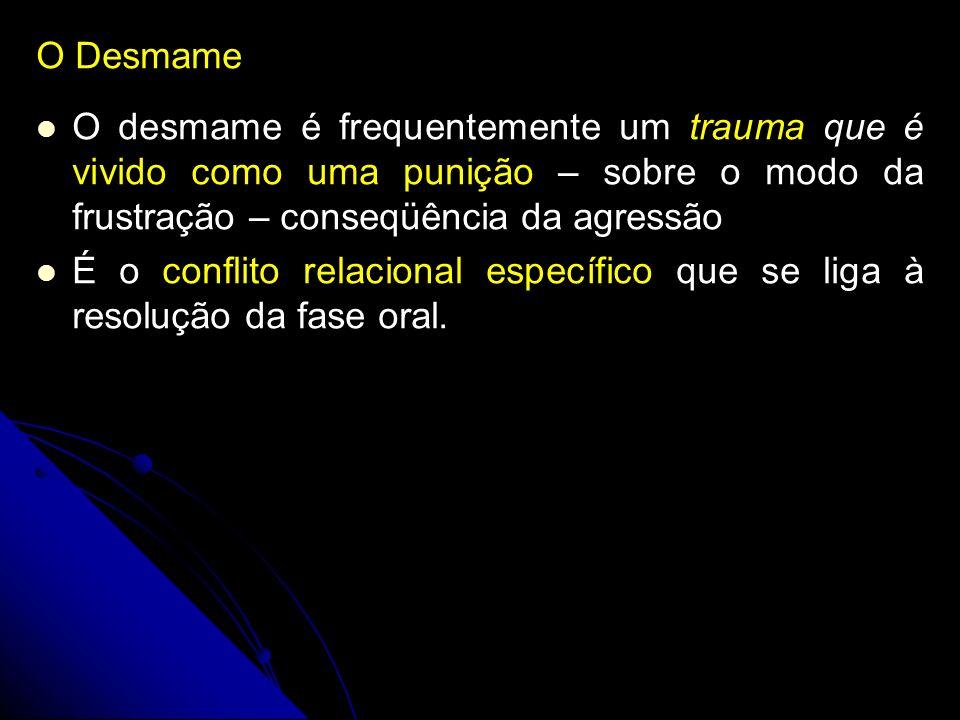 O Desmame O desmame é frequentemente um trauma que é vivido como uma punição – sobre o modo da frustração – conseqüência da agressão É o conflito rela