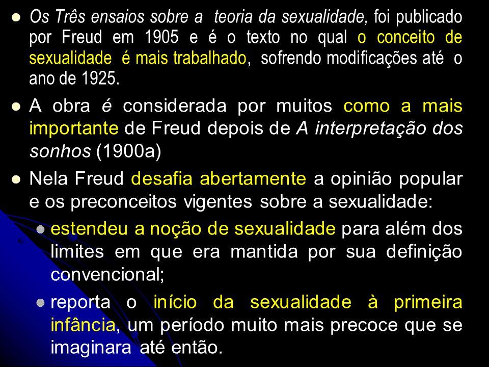 Os Três ensaios sobre a teoria da sexualidade, foi publicado por Freud em 1905 e é o texto no qual o conceito de sexualidade é mais trabalhado, sofren