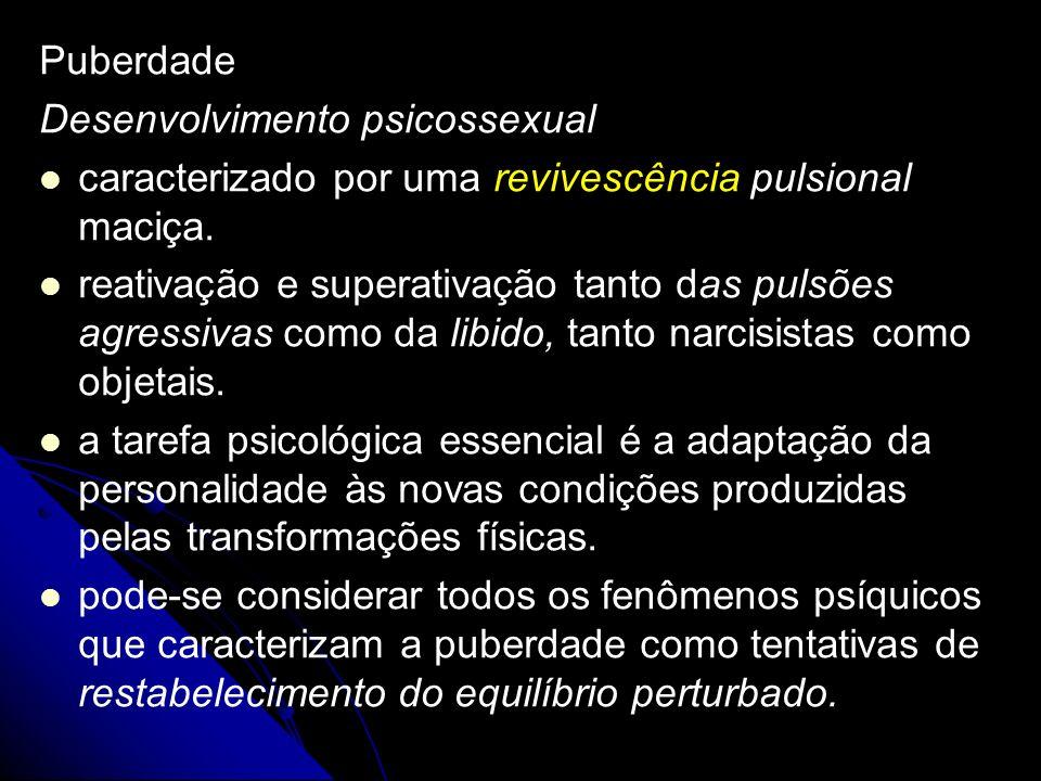 Puberdade Desenvolvimento psicossexual caracterizado por uma revivescência pulsional maciça. reativação e superativação tanto das pulsões agressivas c