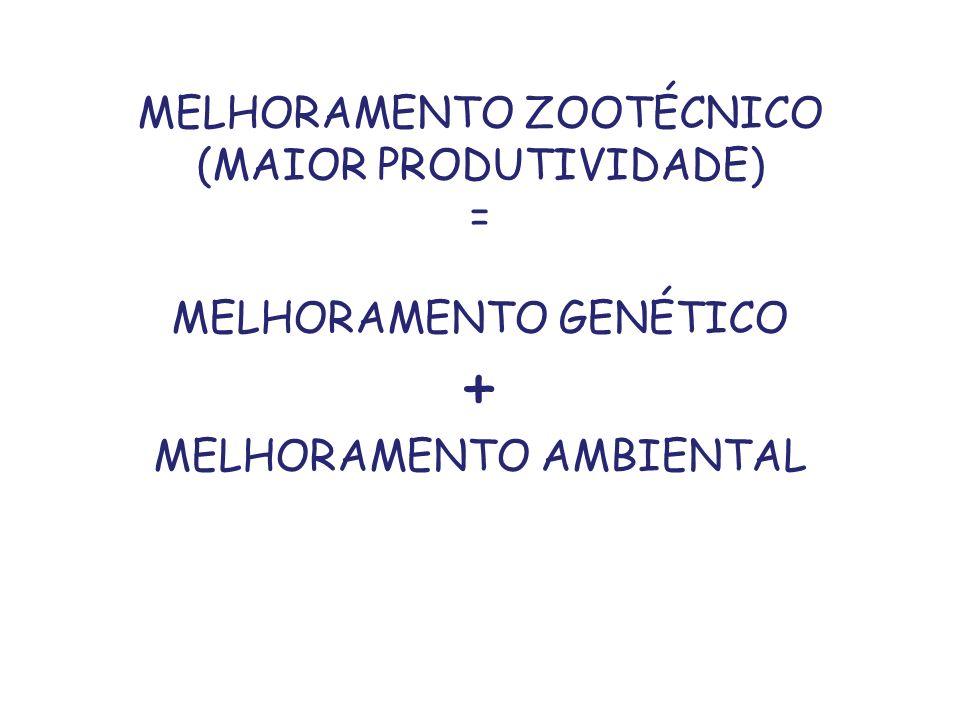 MELHORAMENTO ZOOTÉCNICO (MAIOR PRODUTIVIDADE) = MELHORAMENTO GENÉTICO + MELHORAMENTO AMBIENTAL