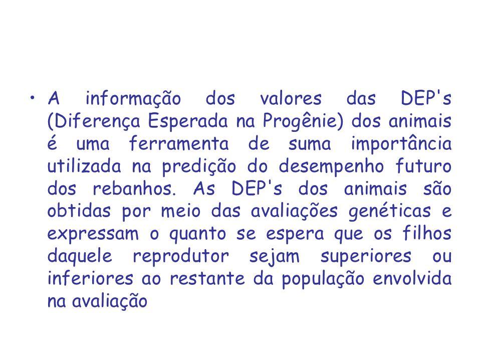 A informação dos valores das DEP's (Diferença Esperada na Progênie) dos animais é uma ferramenta de suma importância utilizada na predição do desempen
