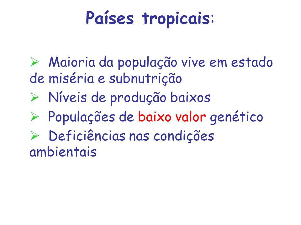 Países tropicais: Maioria da população vive em estado de miséria e subnutrição Níveis de produção baixos Populações de baixo valor genético Deficiênci