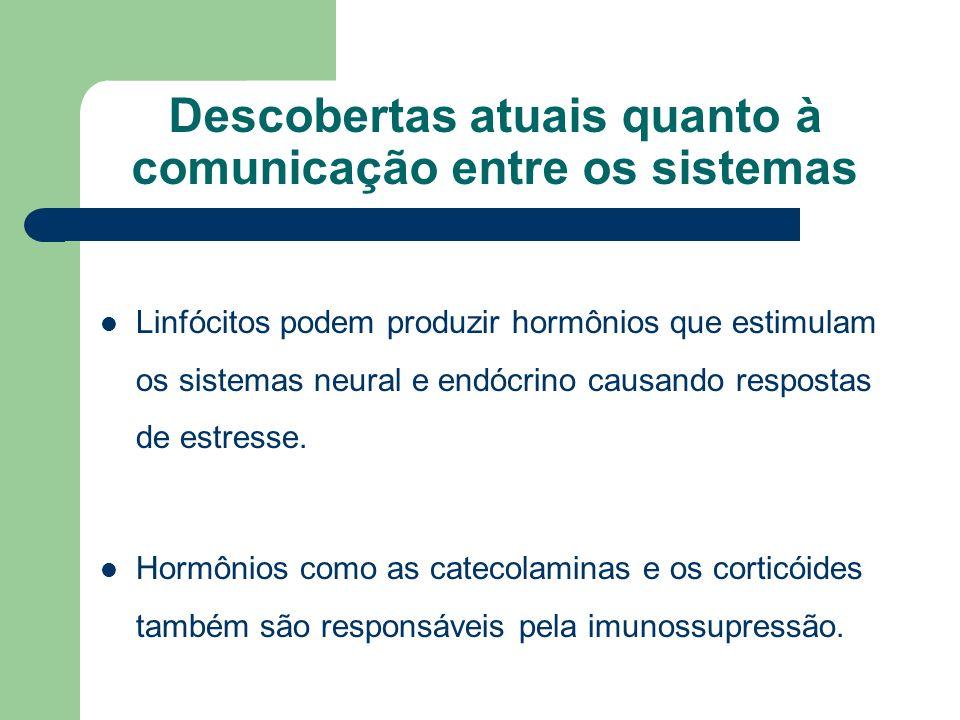 Descobertas atuais quanto à comunicação entre os sistemas Linfócitos podem produzir hormônios que estimulam os sistemas neural e endócrino causando re