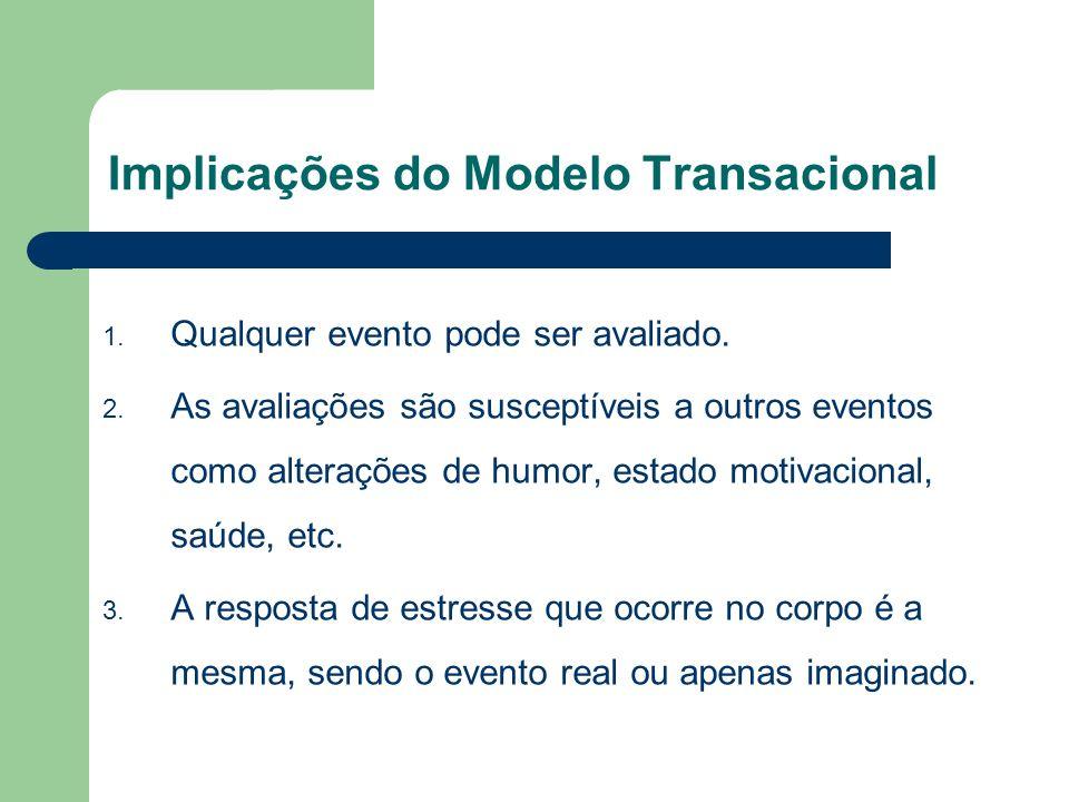 Implicações do Modelo Transacional 1. Qualquer evento pode ser avaliado. 2. As avaliações são susceptíveis a outros eventos como alterações de humor,