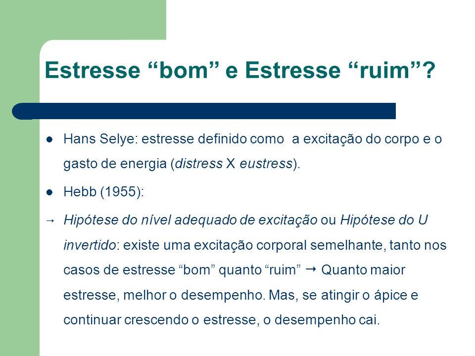 Estresse bom e Estresse ruim? Hans Selye: estresse definido como a excitação do corpo e o gasto de energia (distress X eustress). Hebb (1955): Hipótes