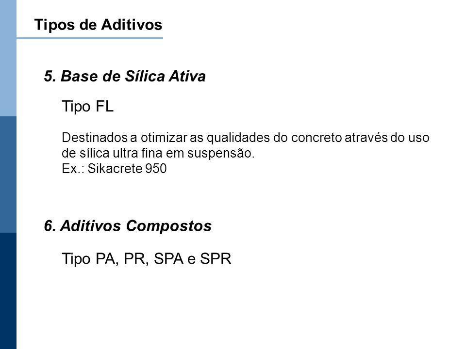 Tipos de Aditivos Destinados a otimizar as qualidades do concreto através do uso de sílica ultra fina em suspensão. Ex.: Sikacrete 950 Tipo FL 5. Base