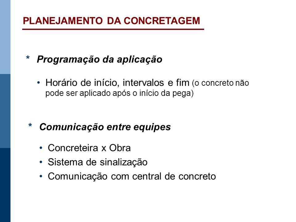 PLANEJAMENTO DA CONCRETAGEM *Programação da aplicação Horário de início, intervalos e fim (o concreto não pode ser aplicado após o início da pega) *Co