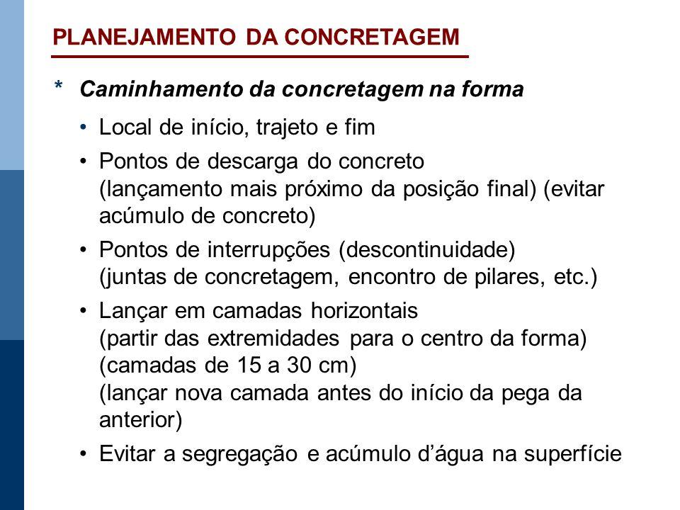*Caminhamento da concretagem na forma Local de início, trajeto e fim Pontos de descarga do concreto (lançamento mais próximo da posição final) (evitar