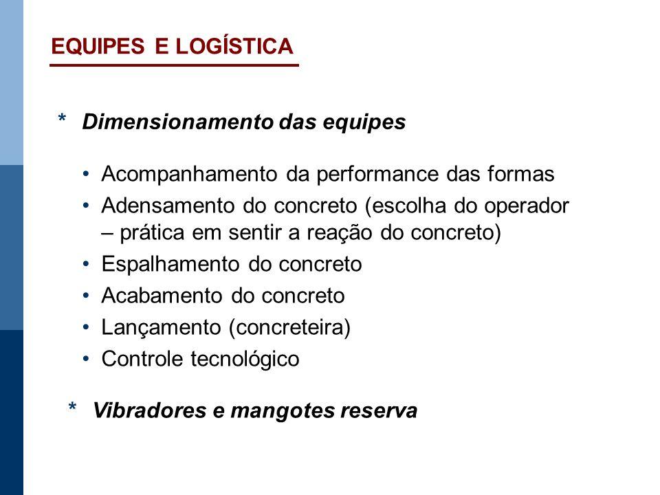 EQUIPES E LOGÍSTICA *Dimensionamento das equipes Acompanhamento da performance das formas Adensamento do concreto (escolha do operador – prática em se