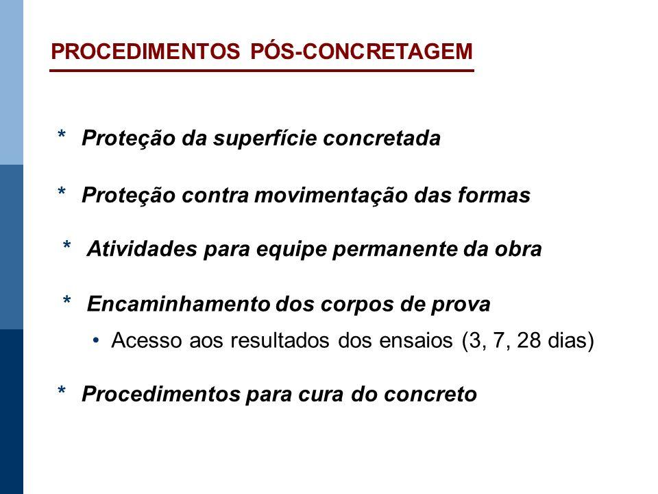 PROCEDIMENTOS PÓS-CONCRETAGEM *Proteção da superfície concretada *Proteção contra movimentação das formas *Procedimentos para cura do concreto *Encami