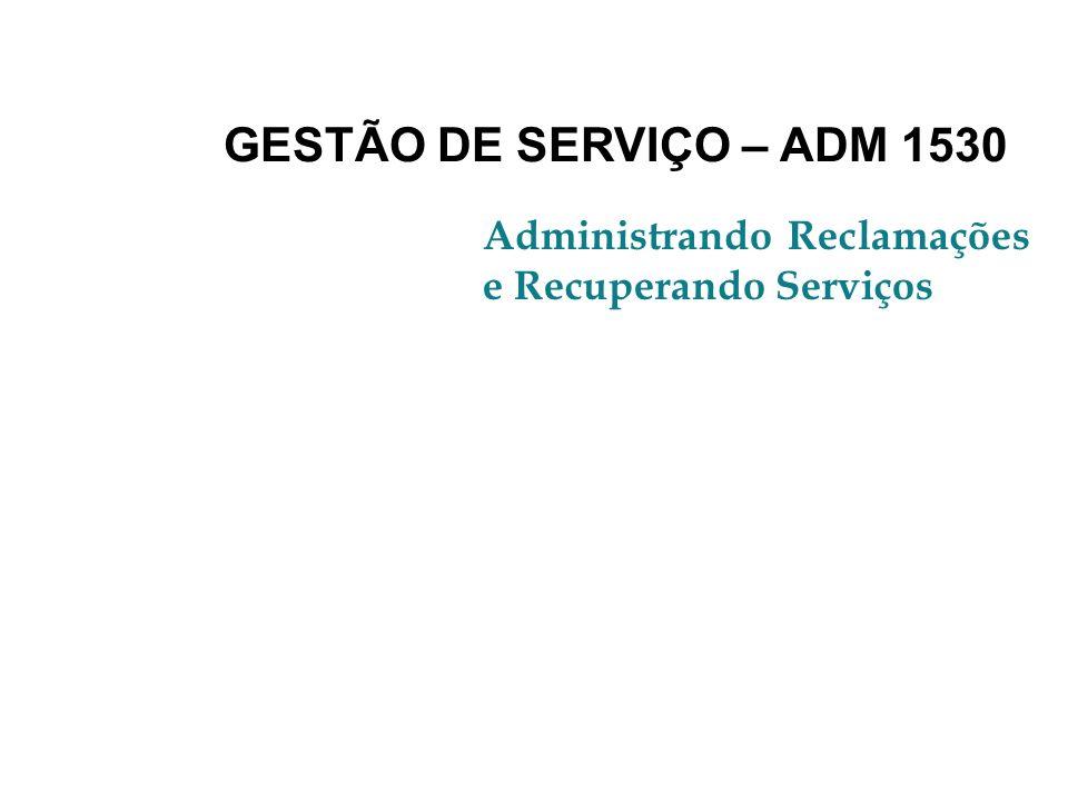 GESTÃO DE SERVIÇO – ADM 1530 Administrando Reclamações e Recuperando Serviços