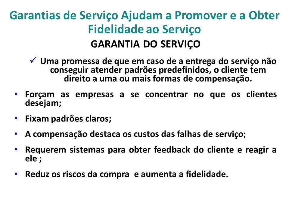 Garantias de Serviço Ajudam a Promover e a Obter Fidelidade ao Serviço GARANTIA DO SERVIÇO Uma promessa de que em caso de a entrega do serviço não con