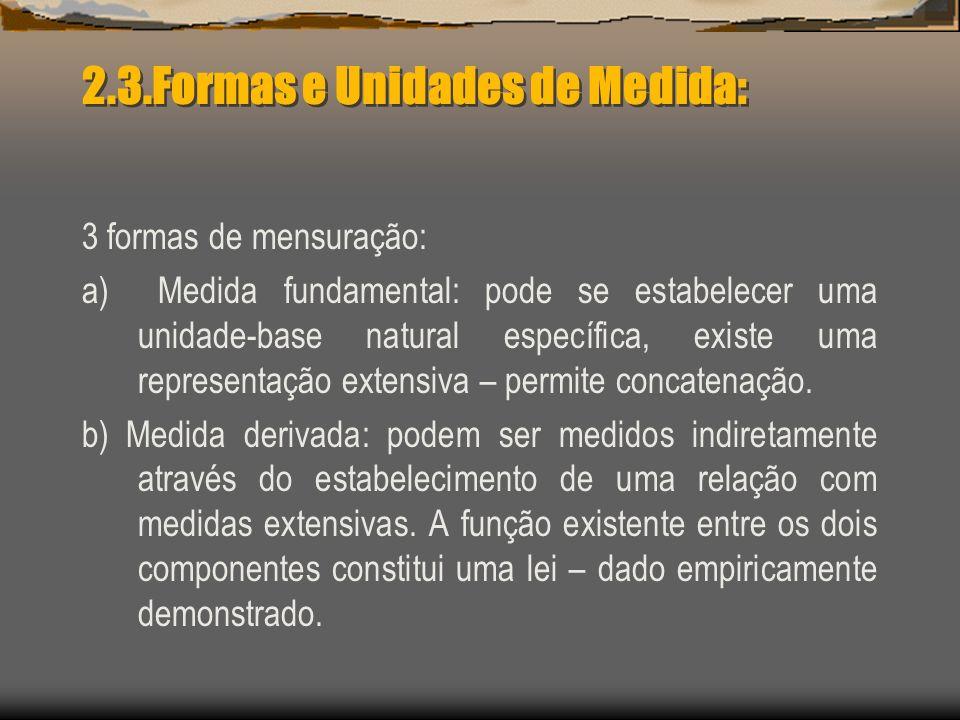 2.3.Formas e Unidades de Medida: 3 formas de mensuração: a) Medida fundamental: pode se estabelecer uma unidade-base natural específica, existe uma re