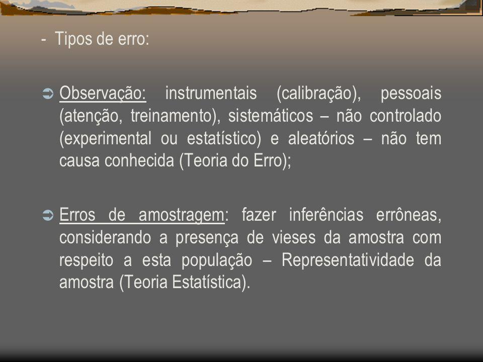 - Tipos de erro: Observação: instrumentais (calibração), pessoais (atenção, treinamento), sistemáticos – não controlado (experimental ou estatístico)