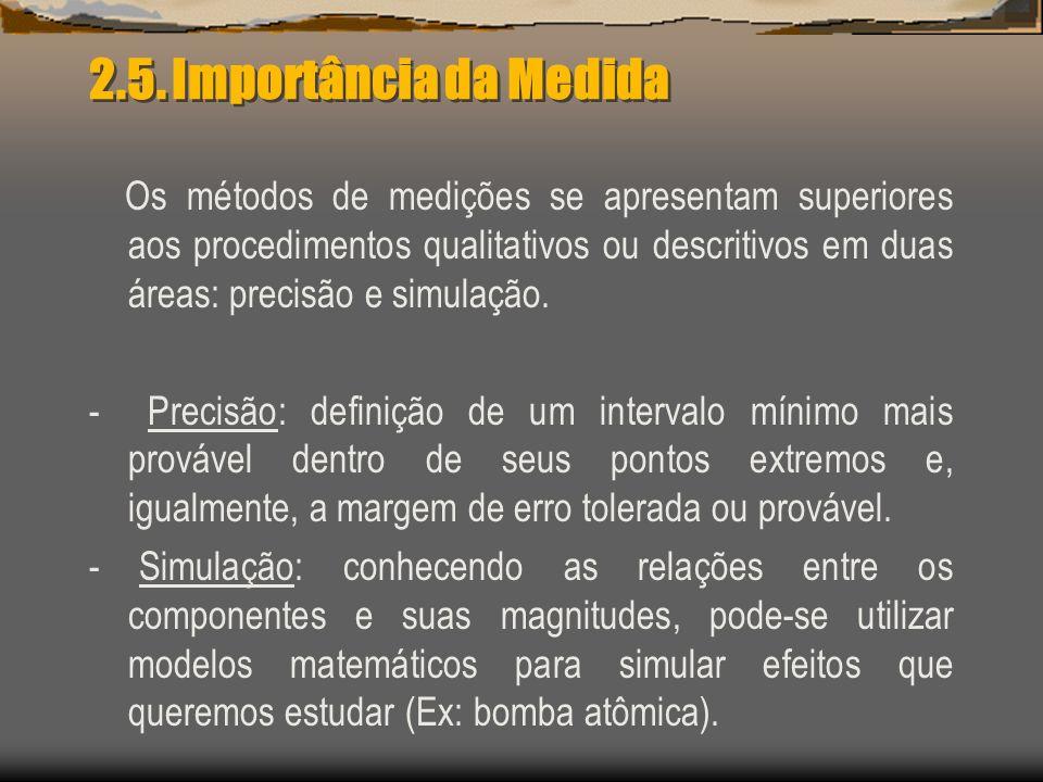 2.5. Importância da Medida Os métodos de medições se apresentam superiores aos procedimentos qualitativos ou descritivos em duas áreas: precisão e sim