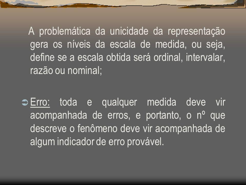 A problemática da unicidade da representação gera os níveis da escala de medida, ou seja, define se a escala obtida será ordinal, intervalar, razão ou