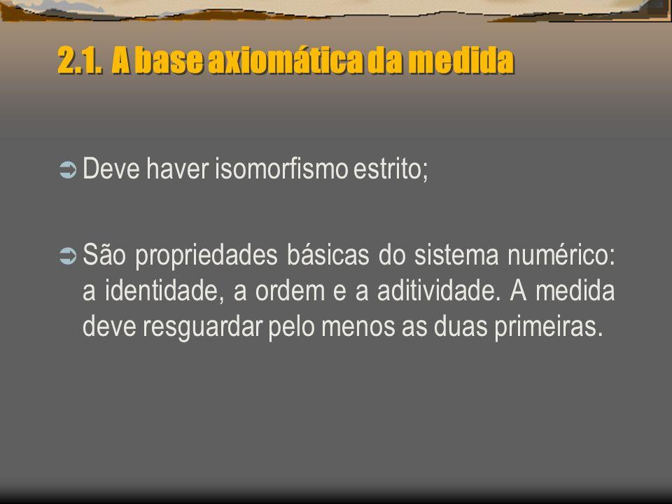 2.1. A base axiomática da medida Deve haver isomorfismo estrito; São propriedades básicas do sistema numérico: a identidade, a ordem e a aditividade.