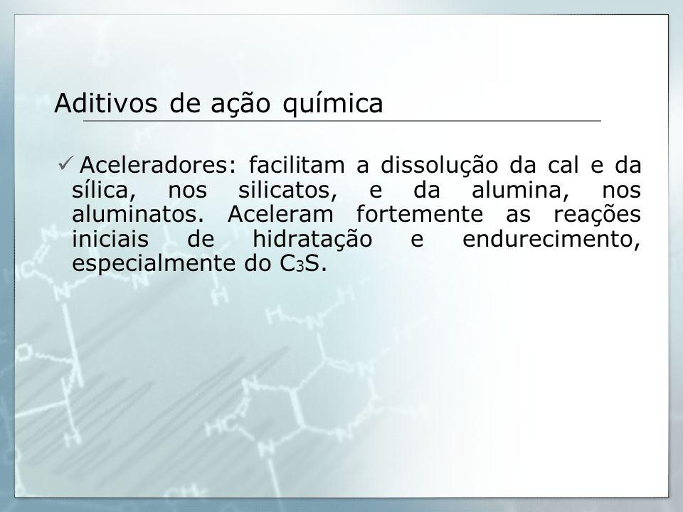Aditivos de ação química Aceleradores: facilitam a dissolução da cal e da sílica, nos silicatos, e da alumina, nos aluminatos. Aceleram fortemente as