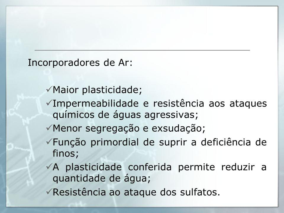 Incorporadores de Ar: Maior plasticidade; Impermeabilidade e resistência aos ataques químicos de águas agressivas; Menor segregação e exsudação; Funçã