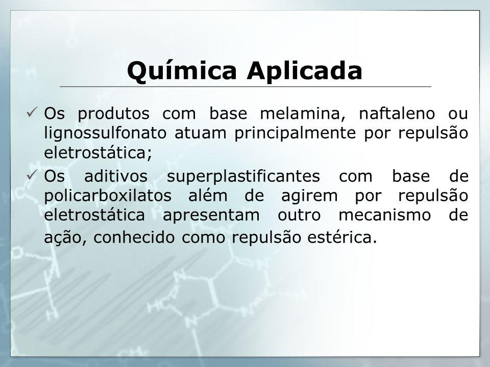 Química Aplicada Os produtos com base melamina, naftaleno ou lignossulfonato atuam principalmente por repulsão eletrostática; Os aditivos superplastif