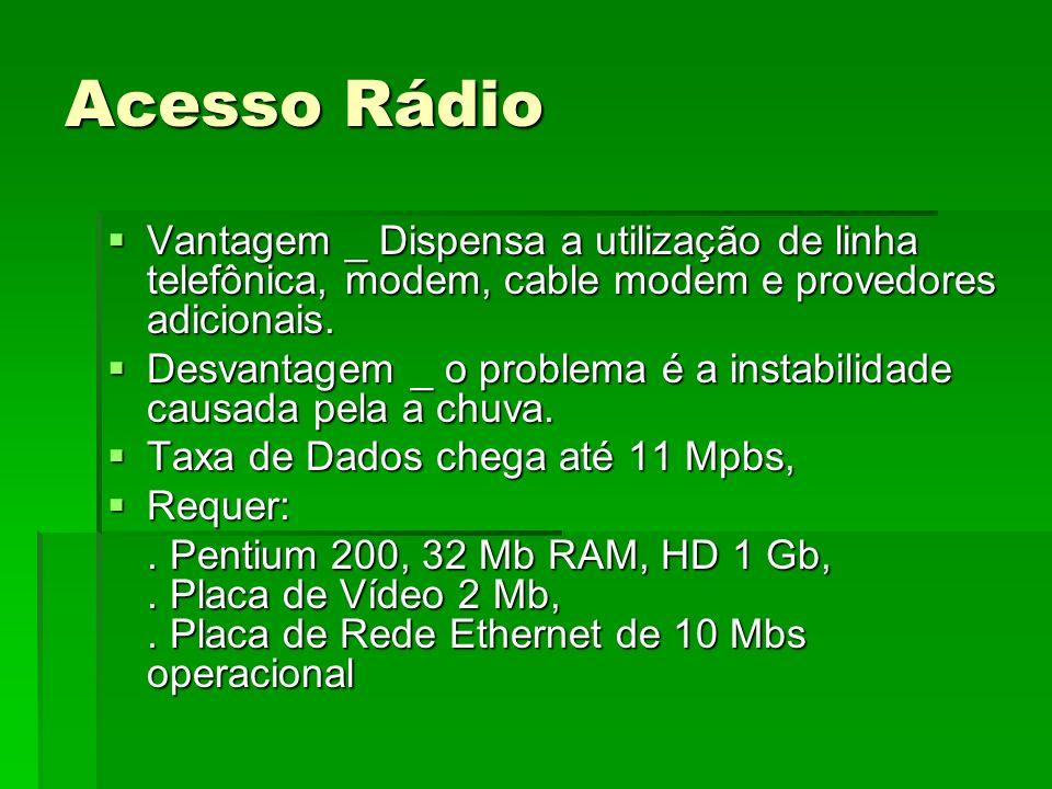 Acesso Rádio Vantagem _ Dispensa a utilização de linha telefônica, modem, cable modem e provedores adicionais. Vantagem _ Dispensa a utilização de lin