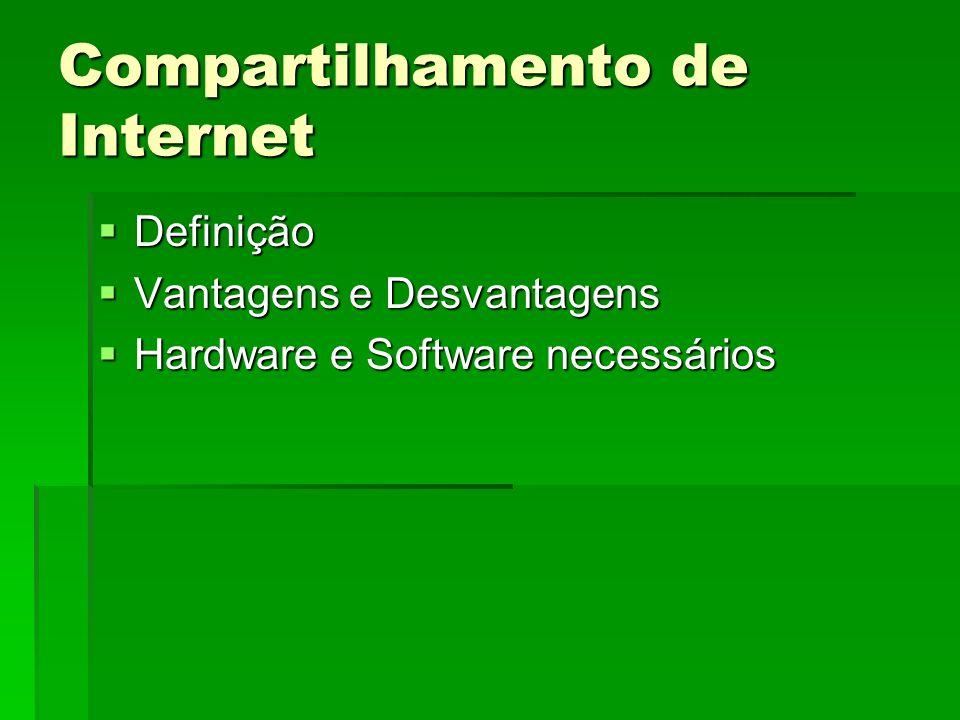 Compartilhamento de Internet Definição Definição Vantagens e Desvantagens Vantagens e Desvantagens Hardware e Software necessários Hardware e Software