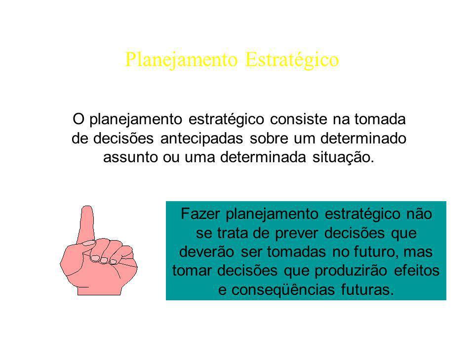 Planejamento Estratégico O planejamento estratégico consiste na tomada de decisões antecipadas sobre um determinado assunto ou uma determinada situaçã