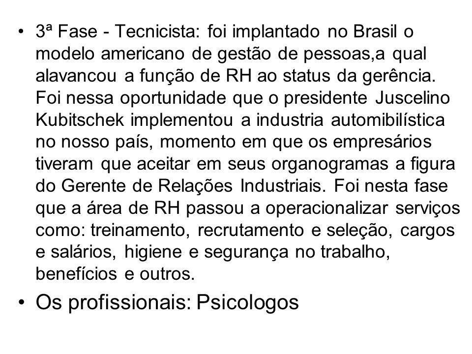 3ª Fase - Tecnicista: foi implantado no Brasil o modelo americano de gestão de pessoas,a qual alavancou a função de RH ao status da gerência. Foi ness