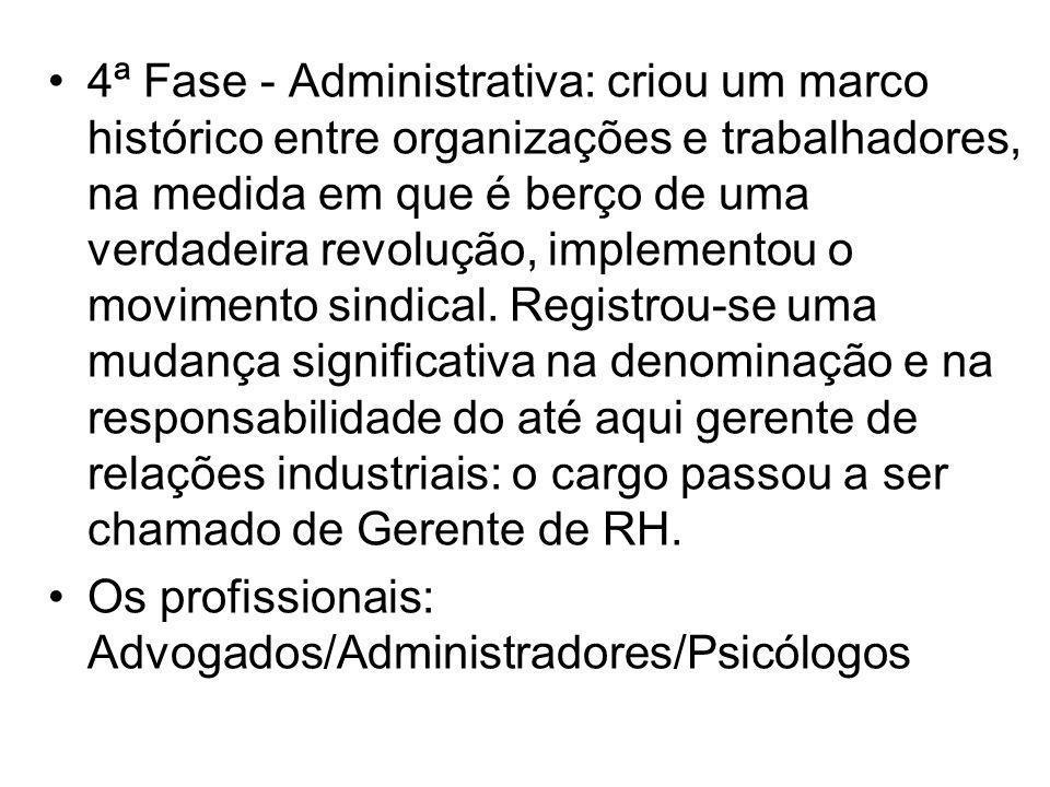 4ª Fase - Administrativa: criou um marco histórico entre organizações e trabalhadores, na medida em que é berço de uma verdadeira revolução, implement