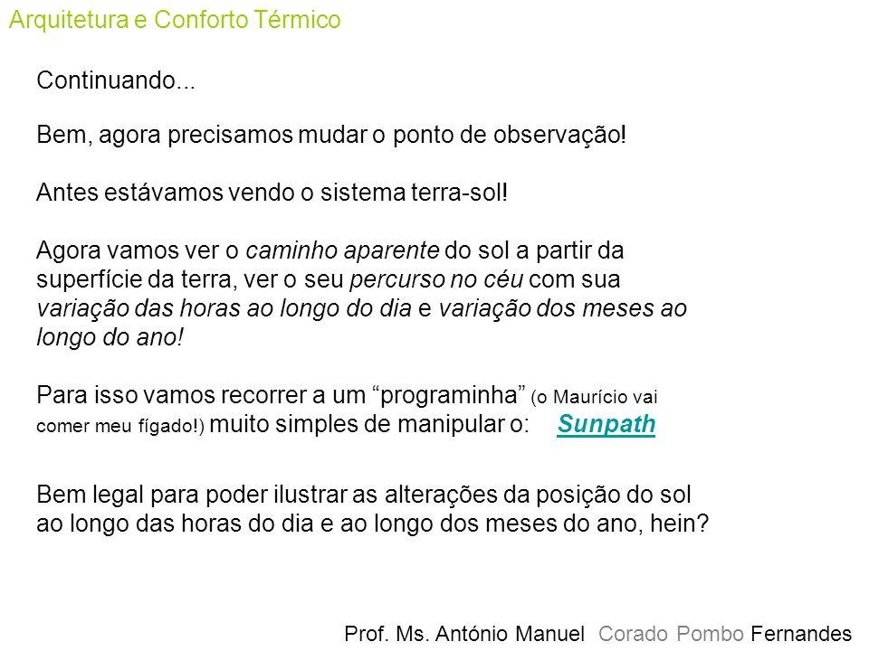 Prof.Ms. António Manuel Corado Pombo Fernandes Arquitetura e Conforto Térmico Continuando...