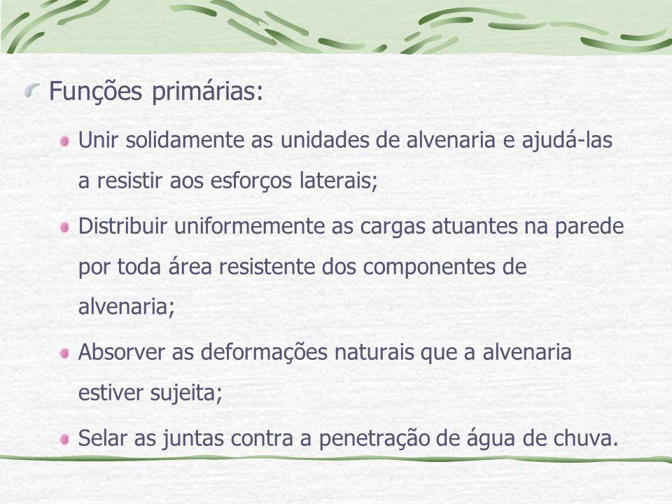Funções primárias: Unir solidamente as unidades de alvenaria e ajudá-las a resistir aos esforços laterais; Distribuir uniformemente as cargas atuantes