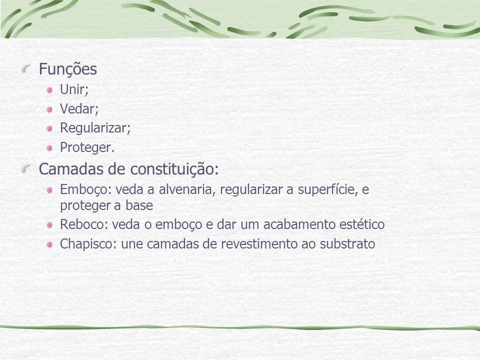 Funções Unir; Vedar; Regularizar; Proteger. Camadas de constituição: Emboço: veda a alvenaria, regularizar a superfície, e proteger a base Reboco: ved