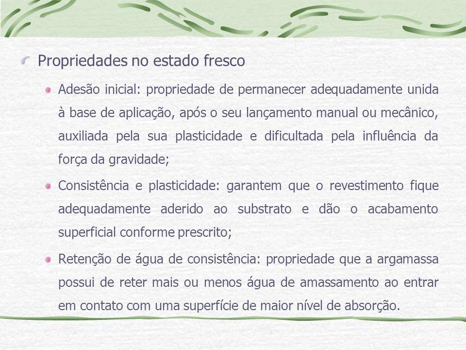 Propriedades no estado fresco Adesão inicial: propriedade de permanecer adequadamente unida à base de aplicação, após o seu lançamento manual ou mecân