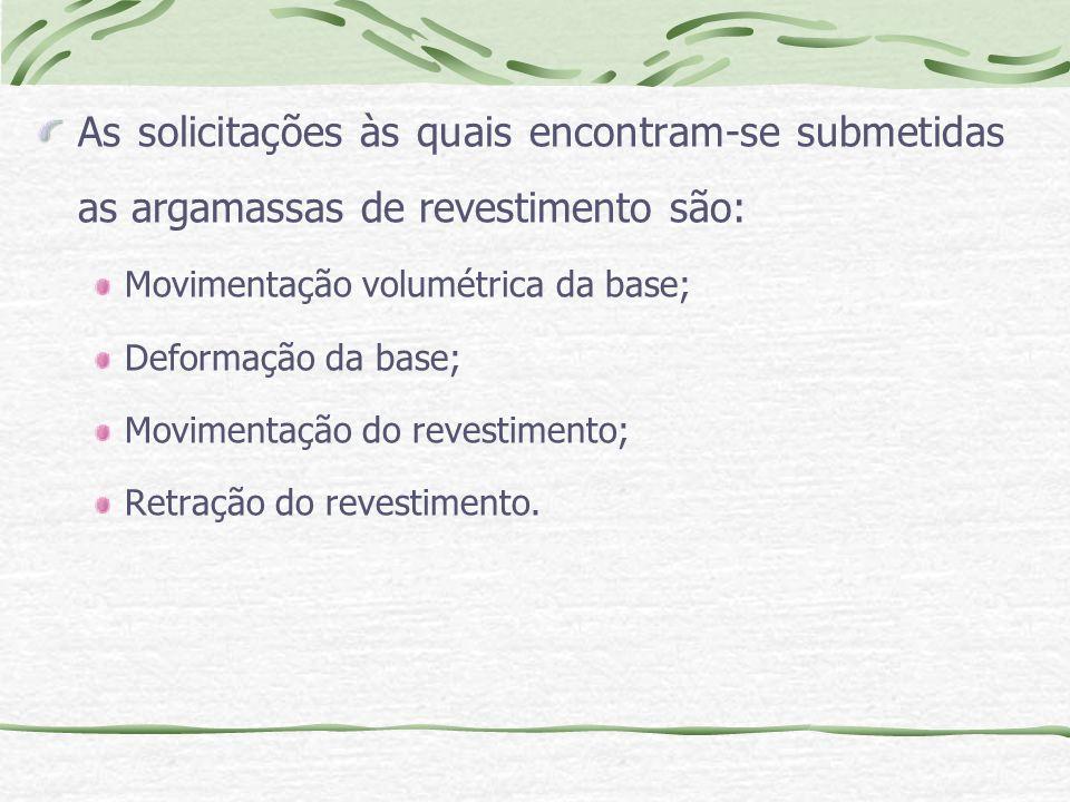 As solicitações às quais encontram-se submetidas as argamassas de revestimento são: Movimentação volumétrica da base; Deformação da base; Movimentação