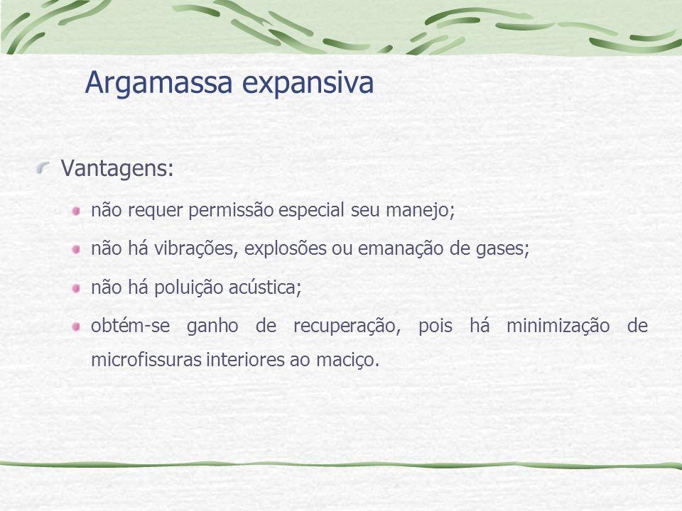 Argamassa expansiva Vantagens: não requer permissão especial seu manejo; não há vibrações, explosões ou emanação de gases; não há poluição acústica; o