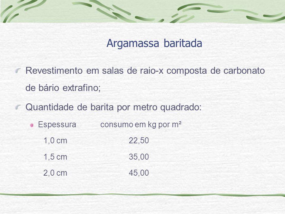 Argamassa baritada Revestimento em salas de raio-x composta de carbonato de bário extrafino; Quantidade de barita por metro quadrado: Espessuraconsumo