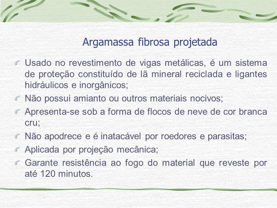 Argamassa fibrosa projetada Usado no revestimento de vigas metálicas, é um sistema de proteção constituído de lã mineral reciclada e ligantes hidráuli
