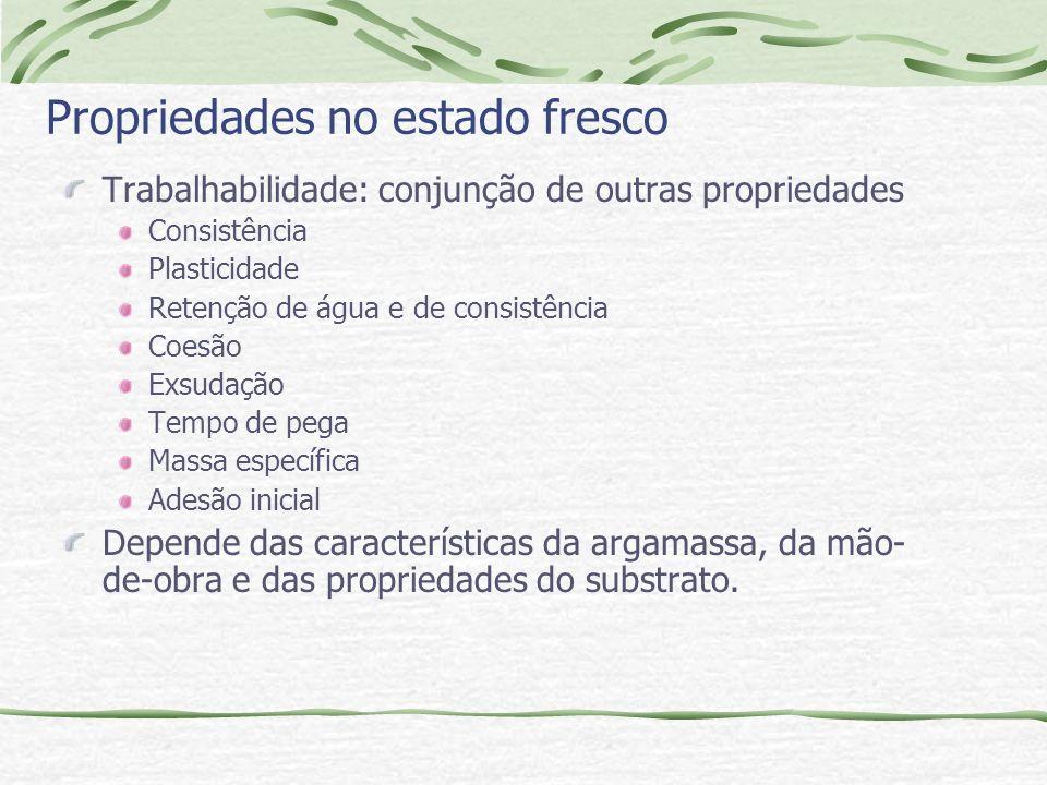 Propriedades no estado fresco Trabalhabilidade: conjunção de outras propriedades Consistência Plasticidade Retenção de água e de consistência Coesão E