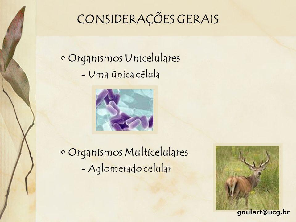 CONSIDERAÇÕES GERAIS Organismos Unicelulares - Uma única célula Organismos Multicelulares - Aglomerado celular goulart@ucg.br