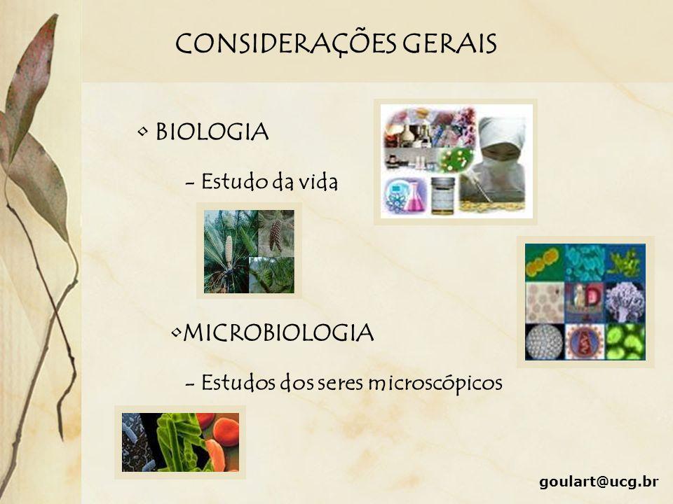 CONSIDERAÇÕES GERAIS BIOLOGIA - Estudo da vida MICROBIOLOGIA - Estudos dos seres microscópicos goulart@ucg.br