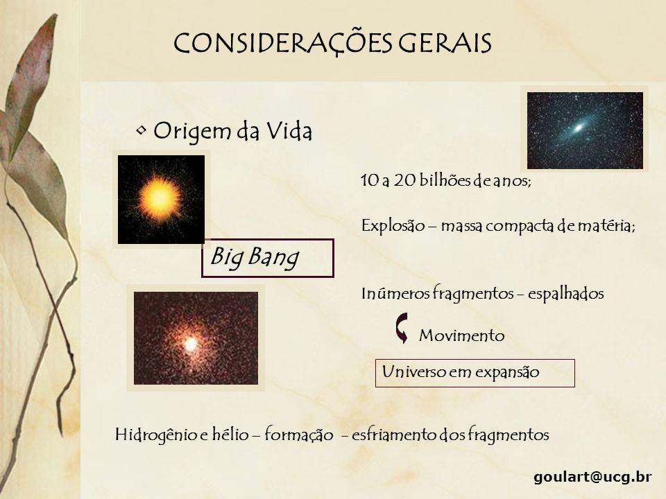 CONSIDERAÇÕES GERAIS Origem da Vida Big Bang 10 a 20 bilhões de anos; Explosão – massa compacta de matéria; Inúmeros fragmentos - espalhados Movimento